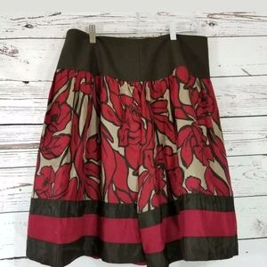 💜 Nygard A Line Skirt Brown Red floral SILK 12